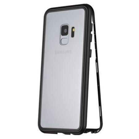 Husa Samsung Galaxy S9 Plus Magnetica 360 grade Black, Perfect Fit cu spate de sticla securizata premium + folie de protectie gratis