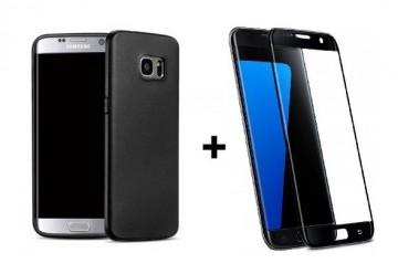 Pachet husa Elegance Luxury Antisoc TPU Black pentru Samsung Galaxy S7 Edge cu folie de sticla Black gratis !