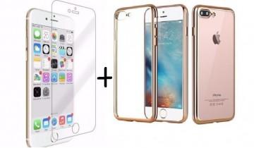 Pachet husa Elegance Luxury placata Gold pentru Apple iPhone 7 Plus cu folie de protectie gratis
