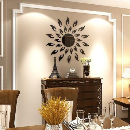 Set Oglinzi Design 3D BLACK SUN - Oglinzi Decorative Acrilice Luxury Home 27 buc/set