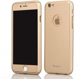 Husa Apple iPhone 6 Plus/6S Plus, FullBody Elegance Luxury iPaky Gold , acoperire completa 360 grade cu folie de sticla gratis