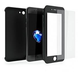 Husa Apple iPhone 7, FullBody Elegance Luxury Black, acoperire completa 360 grade cu folie de sticla gratis