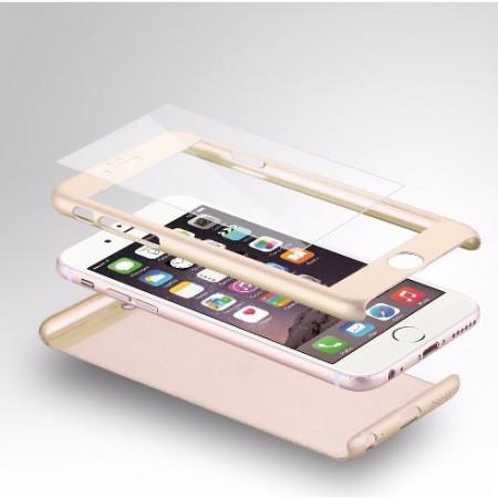Husa Apple iPhone 7 Plus, FullBody Elegance Luxury Gold, acoperire completa 360 grade cu folie de sticla gratis