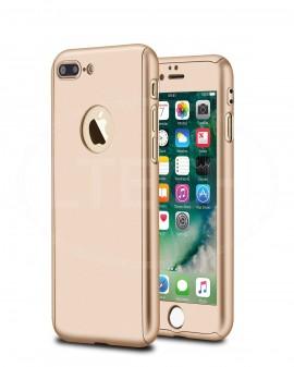 Husa Apple iPhone 7 Plus, FullBody Gold, acoperire completa 360 grade cu folie de sticla gratis