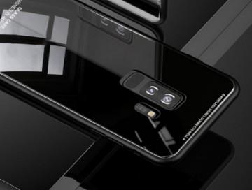 Husa Samsung Galaxy S7 Edge,Elegance Luxury Back Glass, husa cu sticla securizata pe spate de culoare neagra