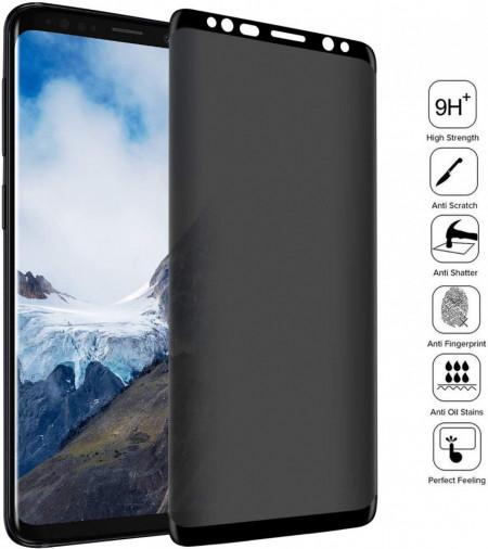 Husa Samsung Galaxy S9 Magnetica cu spate din sticla securizata si folie privacy pentru ecran, Perfect Fit