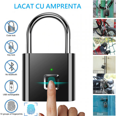 Lacat Smart cu senzor de amprenta, 10 amprente, rezolutie 508 DPI, baterie 3.7V 80 mAh