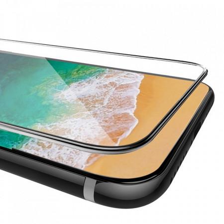Folie de sticla pentru Apple iPhone X, margini colorate Negru