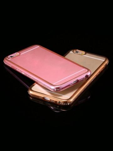 Husa Apple iPhone 6/6S, electroplacata cu diamante Rose-Gold