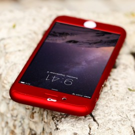 Husa Apple iPhone 6 Plus/6S Plus, FullBody Elegance Luxury Red, acoperire completa 360 grade cu folie de sticla gratis