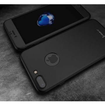Husa Apple iPhone 8 Plus, FullBody Elegance Luxury iPaky Negru , acoperire completa 360 grade cu folie de sticla gratis