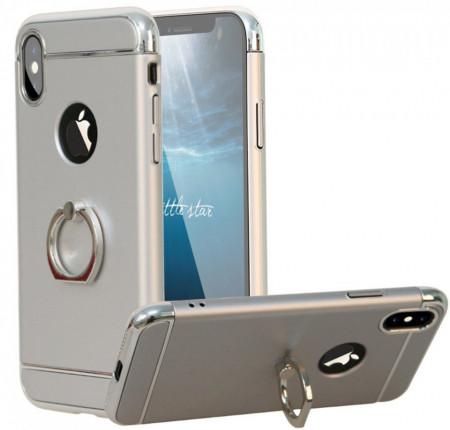 Husa Apple iPhone X, Elegance Luxury 3in1 Ring Argintiu