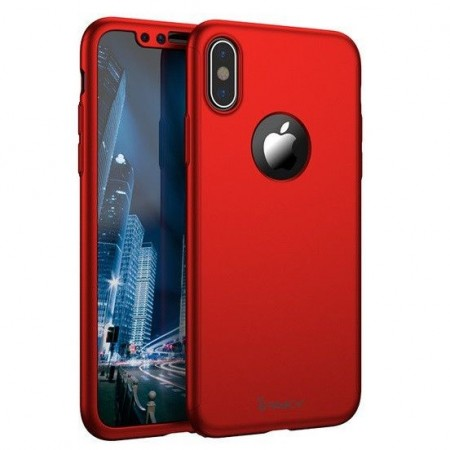 e4baec2662c Husa de protectie pentru Apple iPhone XS MAX, iPaky Pro Rosu Original Case,  acoperire completa 360 ...
