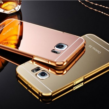 Husa Samsung Galaxy S6 Edge, Elegance Luxury tip oglinda Gold