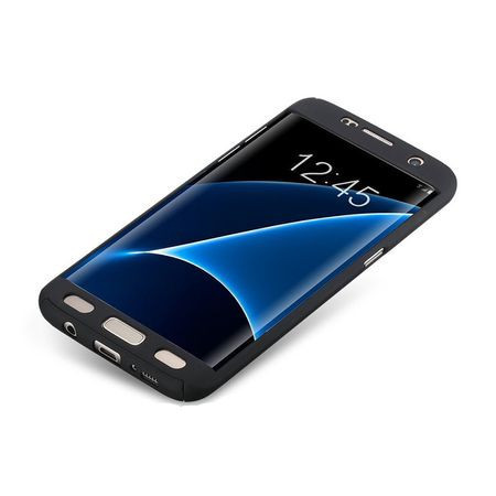 Husa Samsung Galaxy S7 Edge, FullBody Elegance Luxury Black, acoperire completa 360 grade cu folie de protectie gratis