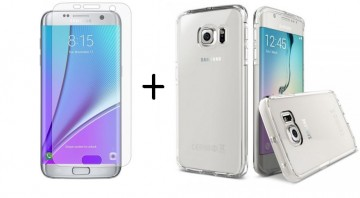 Pachet husa Elegance Luxury Slim transparenta pentru Samsung Galaxy S7 Edge cu folie de protectie gratis
