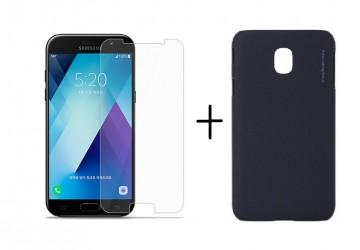 Pachet husa Elegance Luxury X-LEVEL Metalic Black pentru Samsung Galaxy J7 2017 cu folie de protectie gratis