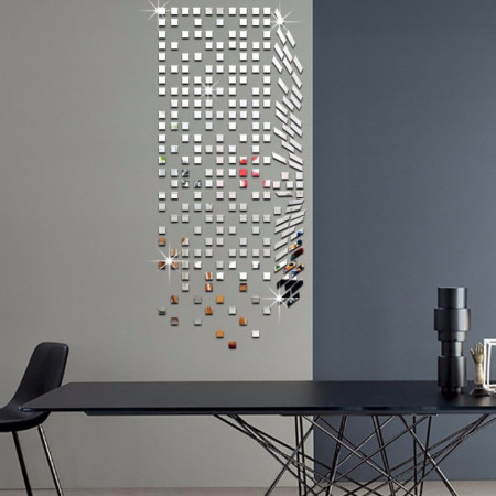 Set Oglinzi Design Patrat 4/4 cm - Decorative Acrilice Silver 500 buc