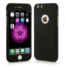 Husa Apple iPhone 5/5S/SE, FullBody Elegance Luxury Black, acoperire completa 360 grade cu folie de sticla gratis