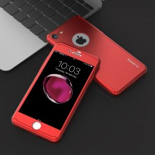 Husa Apple iPhone 6/6S, FullBody Elegance Luxury Red, acoperire completa 360 grade cu folie de sticla gratis