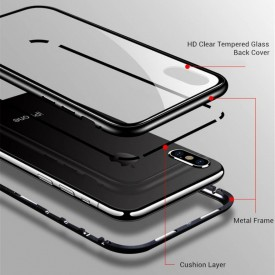 Husa Apple iPhone 7, Magnetica Argintiu, MyStyle Perfect Fit cu spate de sticla securizata premium