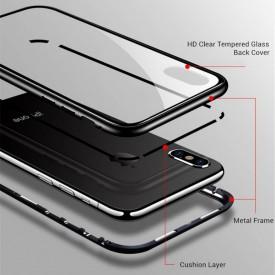 Husa Apple iPhone 7, Magnetica Argintiu, Perfect Fit cu spate de sticla securizata premium