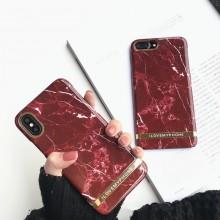 Husa Apple iPhone 7 Plus, Elegance Luxury Marble Red TPU, husa cu insertii marmura rosie-aurie