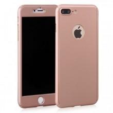 Husa Apple iPhone 8 Plus, FullBody Elegance Luxury Rose-Gold, acoperire completa 360 grade cu folie de sticla gratis