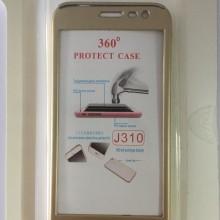 Husa FullBody Elegance Luxury Gold pentru Samsung Galaxy J3 2016 acoperire 360 grade cu folie de protectie GRATIS !
