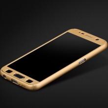 Husa FullBody Elegance Luxury Gold pentru Samsung Galaxy S6 acoperire completa 360 grade cu folie de protectie gratis