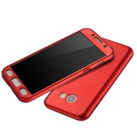 Husa Samsung Galaxy A5 2017, FullBody Elegance Luxury Red, acoperire completa 360 grade cu folie de sticla gratis