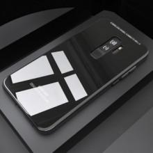 Husa Samsung Galaxy S9 Plus,Elegance Luxury Back Glass, husa cu sticla securizata pe spate de culoare neagra