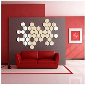 Oglinda Design Hexagon Silver - Oglinzi Decorative Acrilice Cristal - Diamant - Luxury Home - Diagonala 11.5 cm - 1 bucata