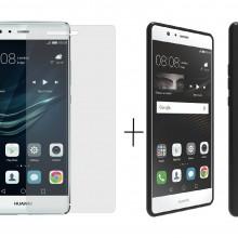 Pachet husa Elegance Luxury Slim Antisoc Black pentru Huawei P9 Lite 2016 cu folie de protectie gratis