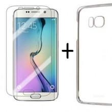 Pachet husa Elegance Luxury slim din plastic tare pentru Samsung Galaxy S6 Edge cu folie de protectie gratis