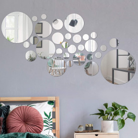 Set Oglinzi Design 3D SILVER ROUND MyStyle® - Oglinzi Decorative Acrilice Luxury Home 26 buc/set