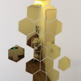 Set Oglinzi Design Hexagon Gold - Oglinzi Decorative Acrilice Cristal - Diamant - Luxury Home 10 bucati/set