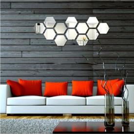 Set Oglinzi Design Hexagon - Oglinzi Decorative Acrilice Cristal - Diamant - Luxury Home - Diagonala 18 cm - Set 10 buc
