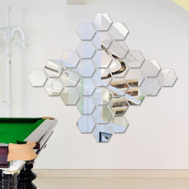 Set Oglinzi Design Hexagon Silver - Oglinzi Decorative Acrilice Cristal - Diamant - Luxury Home 10 bucati/set