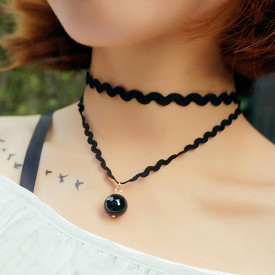 Choker Fashion cu margea Black - Black Delux