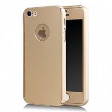 Husa Apple iPhone 5/5S/SE, FullBody Gold, acoperire completa 360 grade cu folie de sticla gratis
