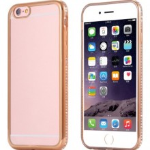 Husa Apple iPhone 6/6S, Elegance Luxury electroplacata cu diamante Gold
