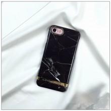 Husa Apple iPhone 6/6S, MyStyle Marble Black TPU, husa cu insertii marmura neagra-aurie
