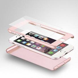 Husa Apple iPhone SE2, FullBody Elegance Luxury Rose-Gold, acoperire completa 360 grade cu folie de sticla gratis