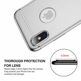 Husa Apple iPhone X, Elegance Luxury 3in1 Argintiu