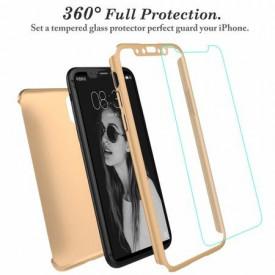 Husa Apple iPhone X, FullBody Elegance Luxury Auriu, acoperire completa 360 grade cu folie de sticla gratis