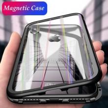 Husa Apple iPhone X, Magnetica 360 grade Negru , Perfect FIt cu spate de sticla securizata premium + folie de sticla pentru ecran gratis