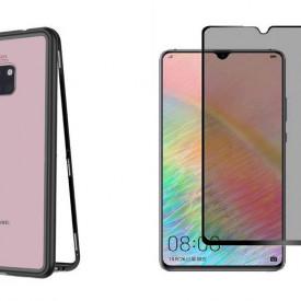 Husa Huawei Mate 20 Magnetica cu spate din sticla securizata si folie privacy pentru ecran, Perfect Fit