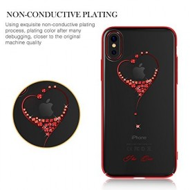 Husa Kingxbar pentru Apple iPhone X design Cristale Swarovski - Red