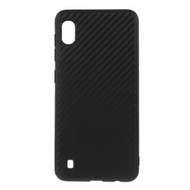 Husa pentru Samsung Galaxy A10, MyStyle Perfect Fit, cu insertii de carbon, negru